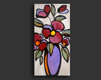 "18"" x 36"" Original Acrylic Abstract Painting Floral Still Life by Mike Daneshi. Free shipping within U.S.A. and CANADA"