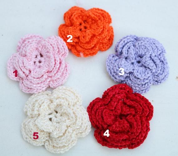 Silk Flower Brooch, Hand knit flower brooch, silk knitted pin flower badge, Christmas present, knitted badge