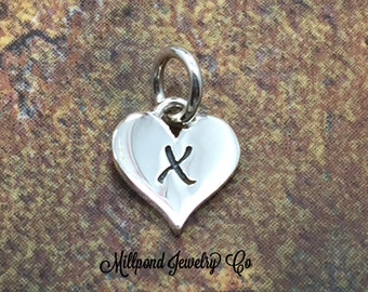 Initial Charm, Letter Charm, X Charm, Letter X Charm, Heart Letter Charm, Alphabet Charm, Sterling Silver Charm