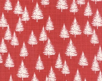 Christmas Tree Fabric, Red Christmas Fabric, Winterberry Fabric, Kate & Birdie Co., Moda Fabrics, Modern Christmas Fabric, 13143 17
