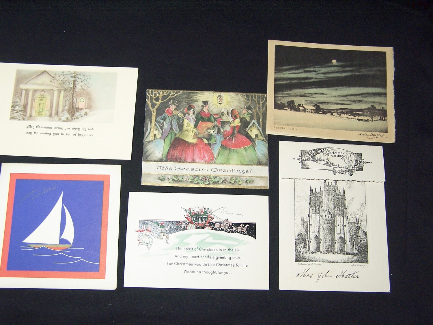 Six vintage used Art Deco Christmas greeting cards sailboat carolers ...