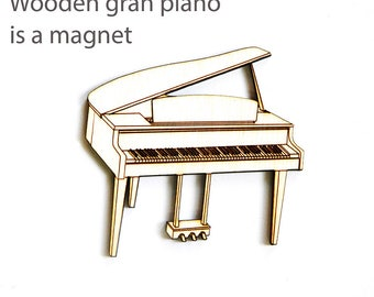 Wooden grand piano - magnet, Musical instrument, miniature grand piano, wooden home decor, storage of notes attaching a magnet