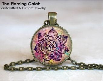 PINK MANDALA Pendant •  Mandala Flower •  Kaleidoscope Flower •  Boho Traveller •  Hindu Mandala •  Made in Australia •   (P0934)