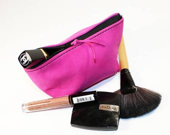 Leather Makeup Pouch, Leather Cosmetic Bag, Pink Leather Pouch, Leather Clutch, Small Leather Pouch!