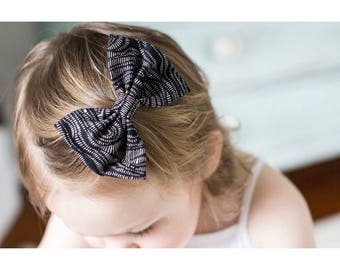 Black Trails - baby bow nylon headband