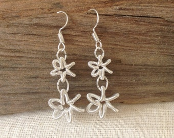 Silver Spiral Flower Earrings