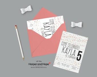 Bubble -Adorable -Birthday -Printable Invitation - Birthday Invitation - Bubbles bday theme - Printable - Sweet Birthday girl- Invites