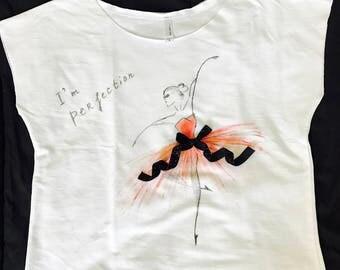 "Hand Paint T-shirt""Girl"",acrylic painting,handmade,women and men,gift,decor,design"