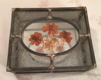 Vintage Ornate Dried Flower Leaded Glass Box