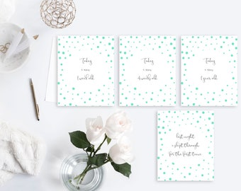Mint Polka Dot Milestone Cards