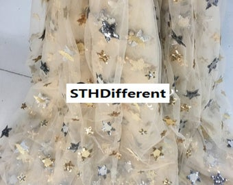 "Stars Sequin fabric mesh lace fabric embroidery bead fabric curtains fabric wedding dress by 1m -(hong )- about 130cm/51""wide"