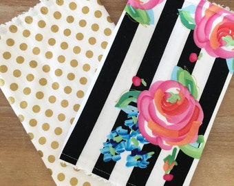 B&W FLORAL and GOLD dot- cotton chenille burp cloths, baby girl, baby shower gift