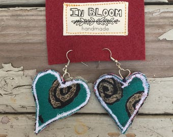 Fabric Earrings Heart Collection #2