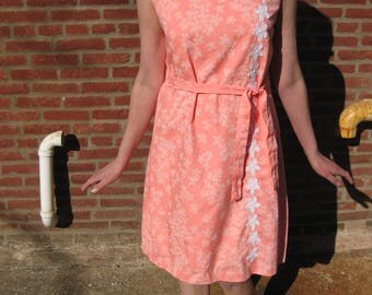 Handmade Vintage Dress with Coral Flower Pattern