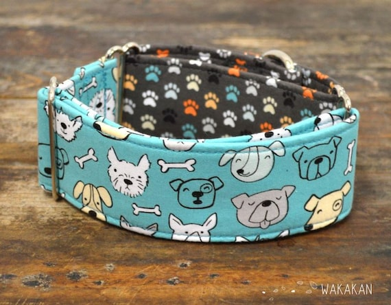 Martingale dog collar model Doggie Paws. Adjustable and handmade with 100% cotton fabric. Doggie faces with colorful paws. Wakakan