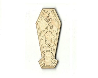 Coffin - Unfinished Laser Wood Cut Out Shape Craft Supply FAL53