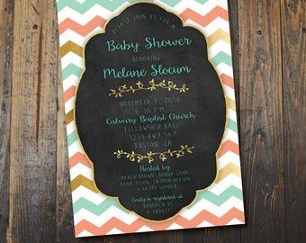 Chevron or Baby Shower Invitation