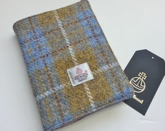 Notebook with Mustard and Blue Harris Tweed Cover