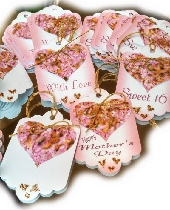 Pink and gold sweetheart custom gift tags bouquet hang tag floral supply party supply personalized gift tag hand made wedding favors hearts