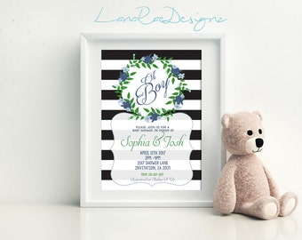 Oh Boy Baby Shower Invitation,  Baby Shower Invitations,  Baby Boy Shower Invitation - Digital File