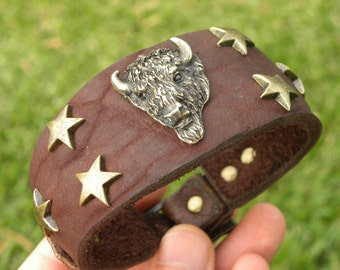 Brown Buffalo Bison Bracelet wristband Indian head nice for Bulls  and Bills fans adjustable sizeable