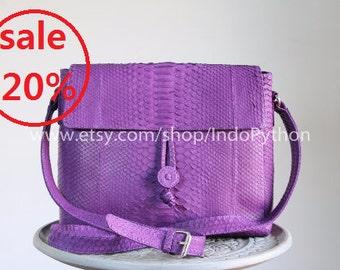 Sale Discount Python Crossbody Bag Snakeskin Genuine Leather Shoulder Bag Purse Purple