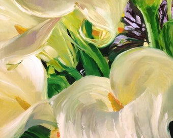 Calla Lilies, Original Oil Painting, Floral
