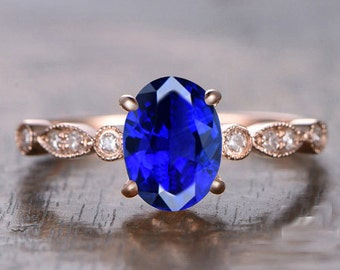 Limited Time Sale: 1.25 Carat Blue Sapphire and Diamond Engagement Ring in 10k Rose Gold for Women on Sale