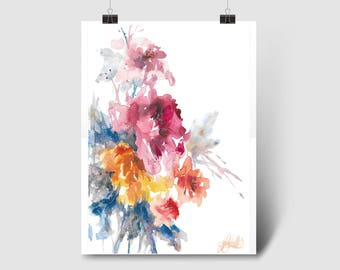 Printable Decorative Watercolour,Instant Download, Digital File, Peonies Flowers,Modern Watercolour Image,Floral Motif for Wall Decoration.