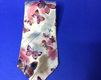 Vintage Estate Courchevel Butterfly Abstract Print Silk Tie