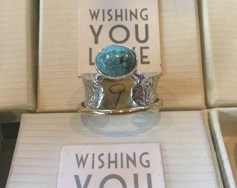 Silvermeditation ring with turquoise stone