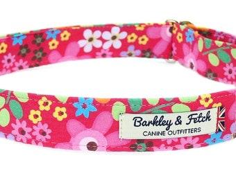 Pink flowery print Dog Collar