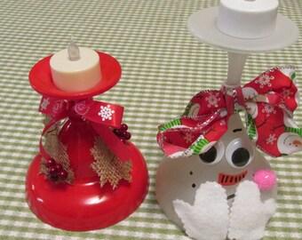 Pair of Handmade Tealights Bashful Snowman and Holiday Red Pair