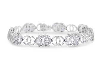 4.93 Ct. Natural Diamond Fancy Oval & Circle Design Link Bracelet 18k White Gold