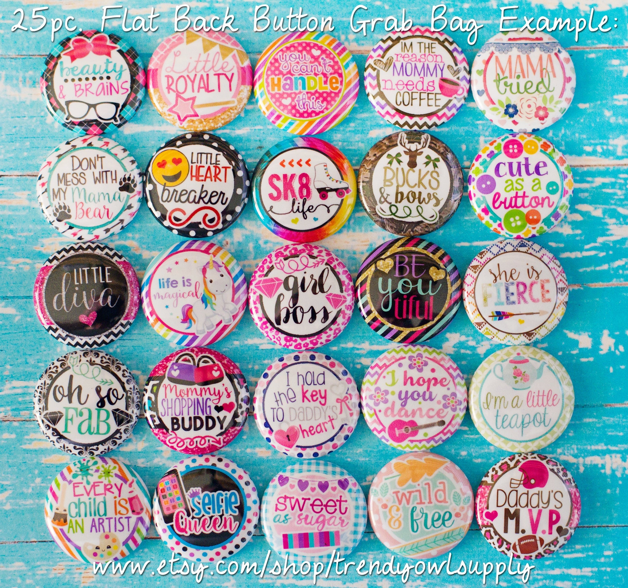 25pc Flat Back Button Grab Bag Misc Sayings From
