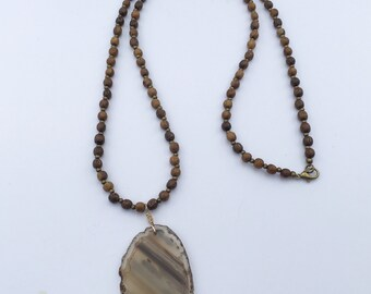 Wood Bead & Wire Wrapped Agate Necklace, Boho Necklace, Long Beaded Necklace, Agate Pendant Necklace