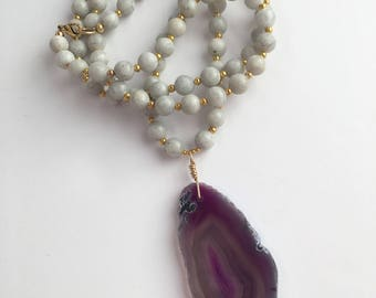 Purple Agate Pendant Necklace, Wire Wrapped Pendant Necklace, Long Beaded Necklace, Boho Necklace, Long Necklace