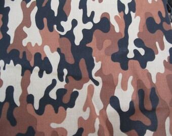 100 percent black, brown, dark brown, tan camo fabric/by the yard