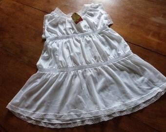 Vintage French white slipdress dress w lace petticoat underdress Rolmaine under dress night gown retro lingerie girls underwear from Paris