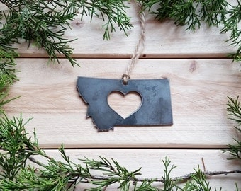 Love Montana State Steel Ornament Rustic MT Metal State Heart Host Gift Keepsake Travel Wedding Favor By BE Creations