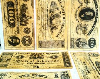 Confederate Currency Confederate money paper money Virginia south Carolina North Carolina Arkansas Georgia Mississippi decor