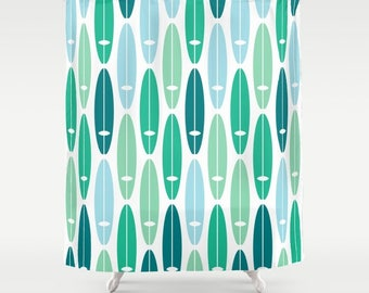 surf boards shower curtain in blue teal turquoise green mint surf ocean beach bathroom decor