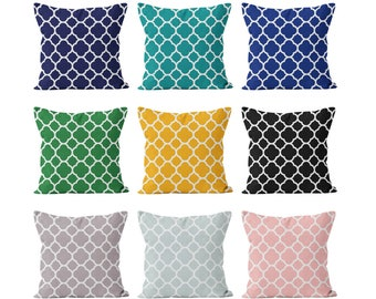 45 colors Quatrefoil Pillow Cover, Classic Modern Throw Cushion Cover, Lattice Moroccan Pillow Cover, Black Turquoise Blue Blush Pink Green