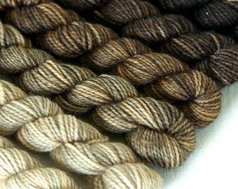 SAHARA DESERT 240 yard mini-skein set, High Twist Sock, superwash, merino, fingering weight, sock yarn, gradient, ombre