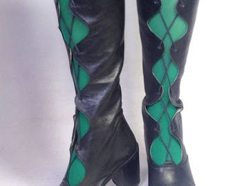 Reserved >>>> Retro italian made Leather cut out Go Go boots / MOD / Psych / Barbarella / Indie / Twiggy / Carnaby Street