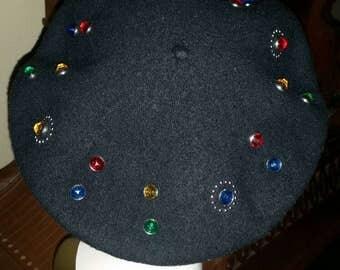 Bedazzled Black Wool Beret 80's Rhinestones
