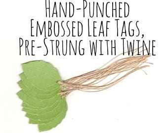 Green Birch Leaf Gift Tags, Metallic Text Paper, w/ Jute Thread/Rustic Twine, Hang Tag/Price Tag/Die Cuts