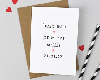 Best Man Card Personalised Card - Thank You Card - Mr and Mrs Wedding Thank You Card - Wedding Thanks Card - Mr and Mr - Mrs and Mrs