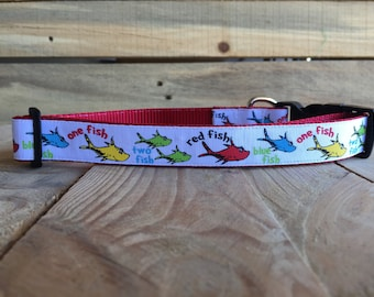 "Dr. Suess Dog Collar, One Fish Two Fish Dog Collar, Quick Release Buckle, 1"" width"