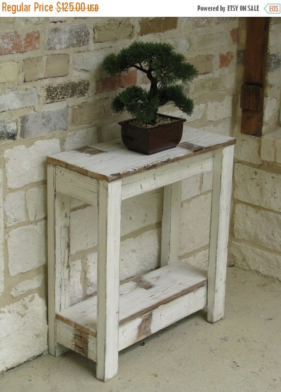 SALE Rustic Farmhouse End Table with Shelf by DougAndCristyDesigns
